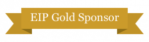 """EIP Gold Sponsor"" written on a gold colored banner"