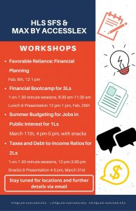 Advertisement for various personal finance workshops hosted by SFS