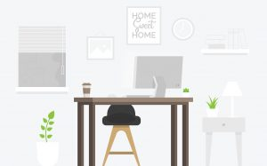 Illustration of a home office space