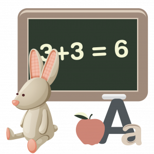 A drawing of a chalkboard, a stuffed bunny, an apple and the letter A