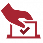 illustration of putting vote into ballot box
