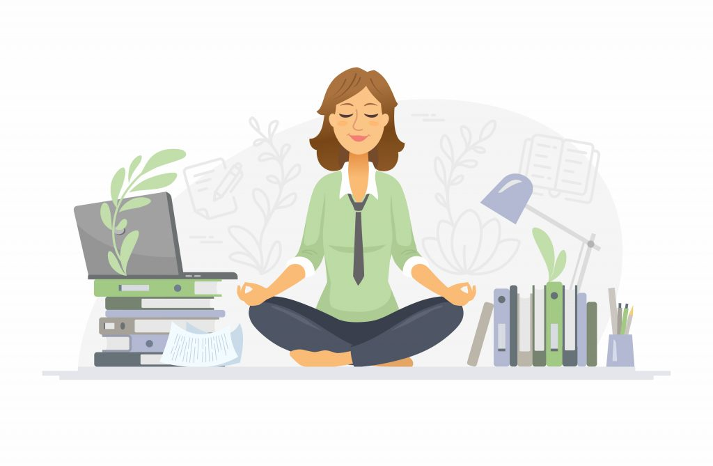 Mindfulness – modern vector cartoon people characters illustration