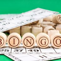 Bingo cards on green background