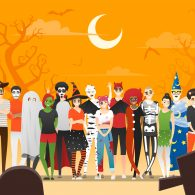 Happy Halloween , group of teens in Halloween costume concept standing together on graveyard background , vector, illustration
