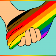 holding hands, one the colors of the lgbtq+ flag