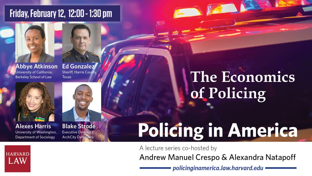 Policing in America graphic featuring headshots of the speakers