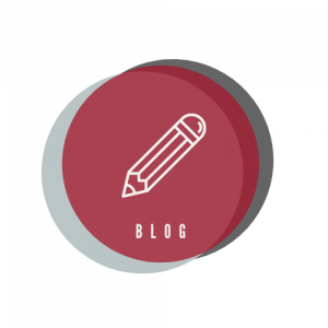 """Circular, multicolored icon containing an illustration of a pencil above the word """"Blog"""""""