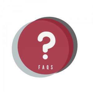 """Circular, multicolored icon containing an illustration of a question mark above the word """"FAQs"""""""