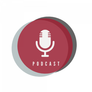 """Circular, multicolored icon containing an illustration of a microphone above the word """"Podcast"""""""