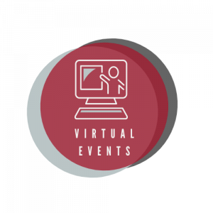 """Circular, multicolored icon with an illustration of a computer above the words """"Virtual Events"""""""